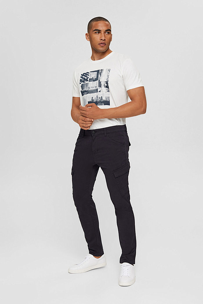 Stretch cotton cargo trousers, DARK BLUE, detail image number 1