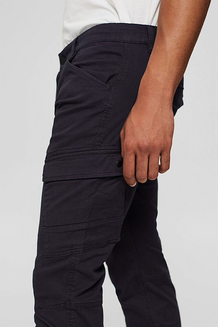 Stretch cotton cargo trousers, DARK BLUE, detail image number 2