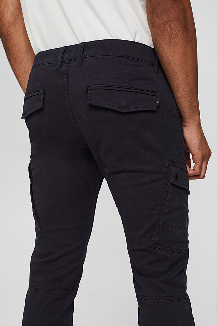 Stretch cotton cargo trousers, DARK BLUE, detail image number 5