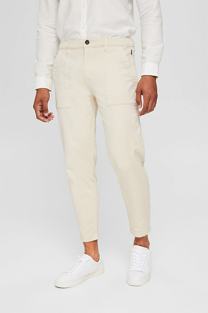 Ankle-length twill trousers with large pockets, SAND, detail image number 0