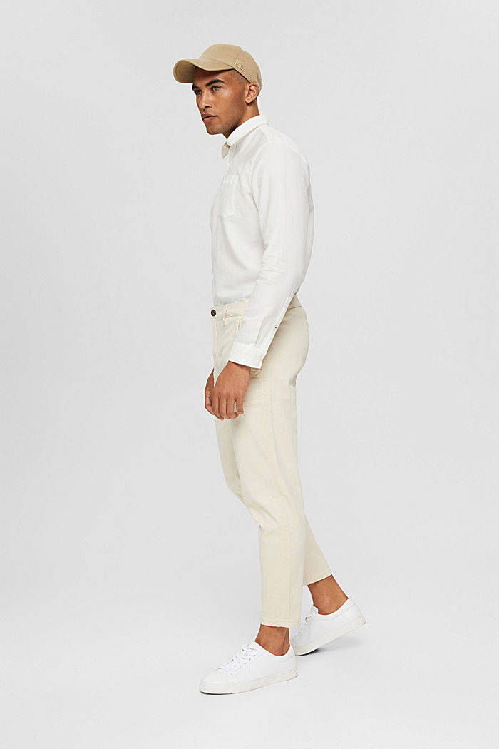 Ankle-length twill trousers with large pockets, SAND, detail image number 1