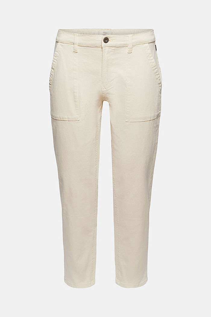 Ankle-length twill trousers with large pockets, SAND, detail image number 6