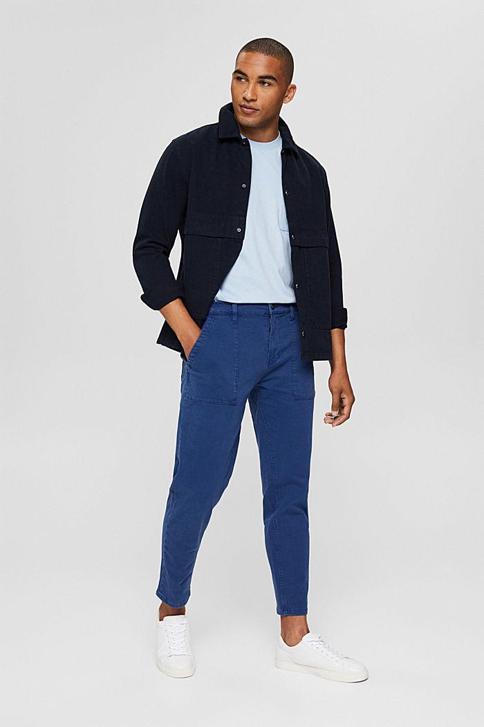 Knöchellange Twillhose mit großem Taschen, DARK BLUE, detail image number 1