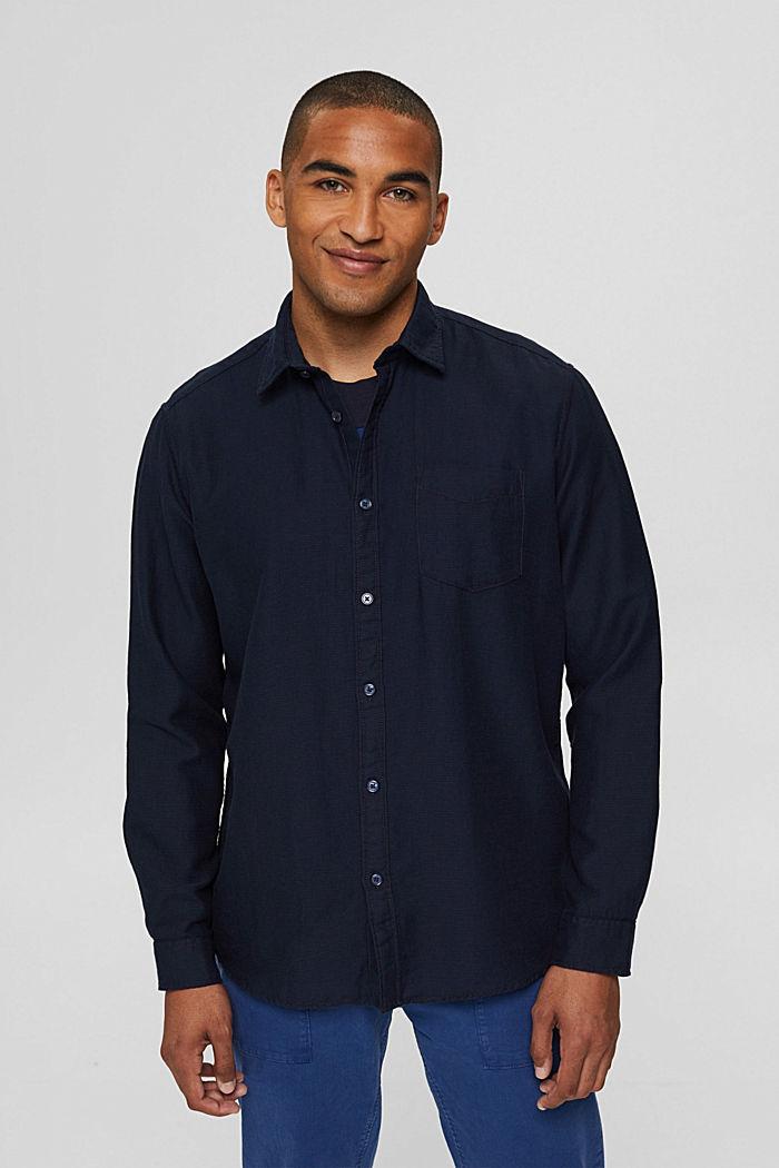 Struktur-Hemd aus 100% Baumwolle, NAVY, detail image number 0