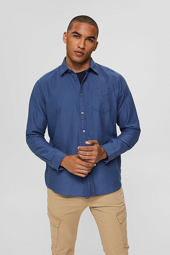 Textured shirt made of 100% cotton, DARK BLUE, detail image number 0