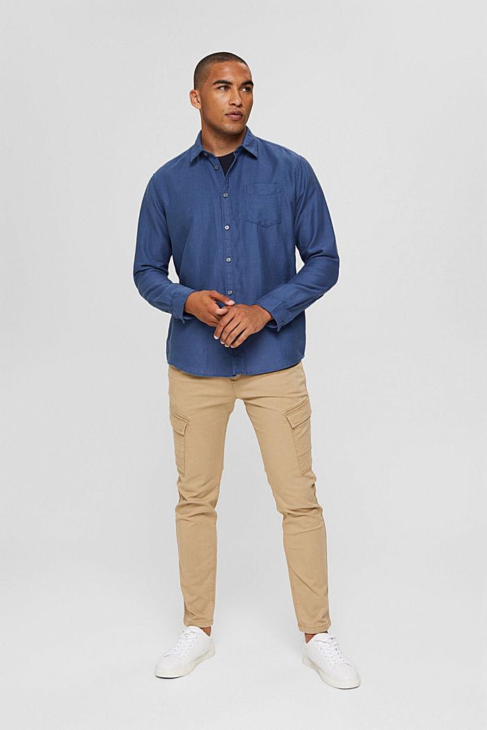 Textured shirt made of 100% cotton, DARK BLUE, detail image number 1