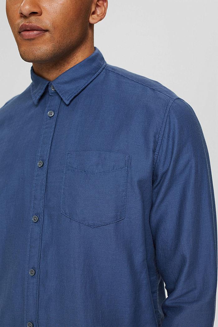 Textured shirt made of 100% cotton, DARK BLUE, detail image number 2