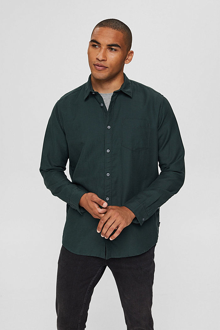 Textured shirt made of 100% cotton, TEAL BLUE, detail image number 0