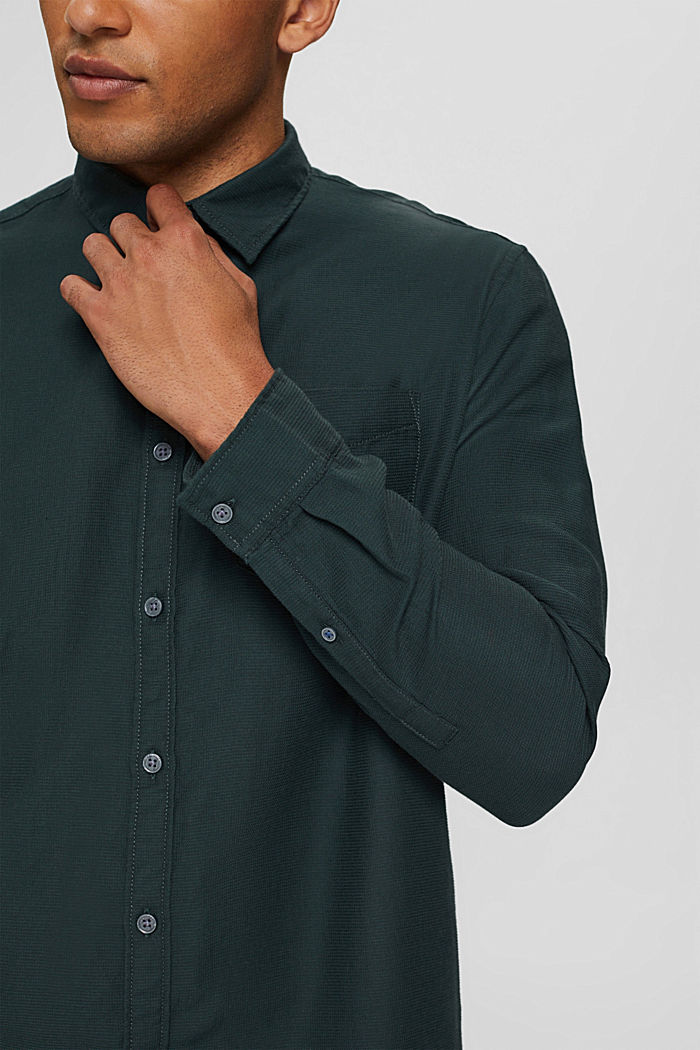 Textured shirt made of 100% cotton, TEAL BLUE, detail image number 2