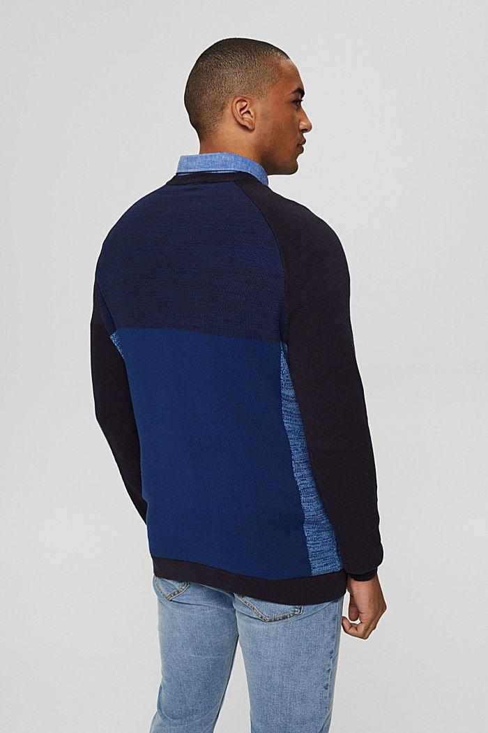 Jersey con bloques de color confeccionado en 100% algodón ecológico, NAVY, detail image number 3
