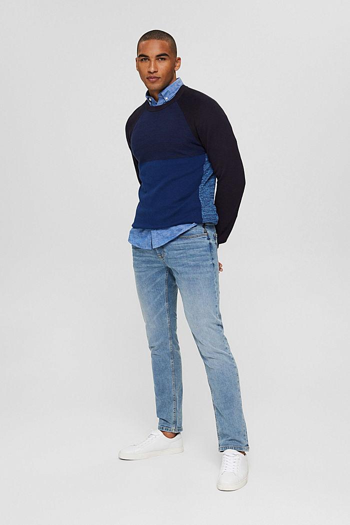 Jersey con bloques de color confeccionado en 100% algodón ecológico, NAVY, detail image number 1