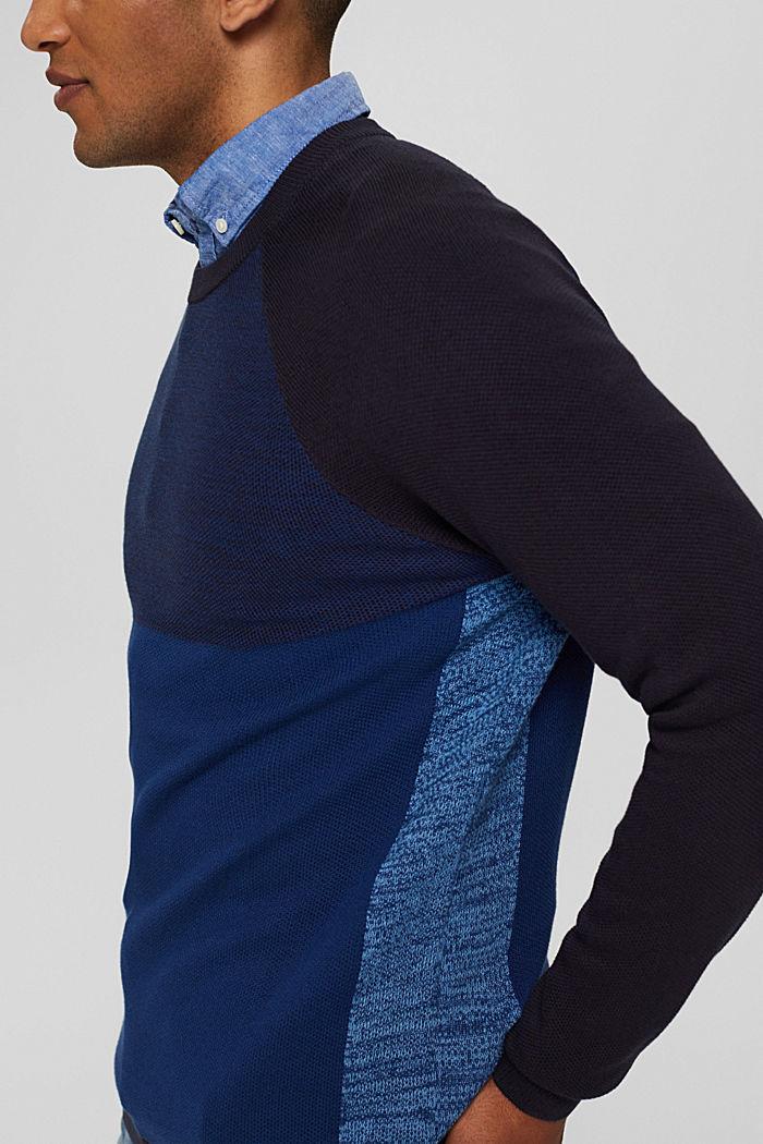 Jersey con bloques de color confeccionado en 100% algodón ecológico, NAVY, detail image number 2