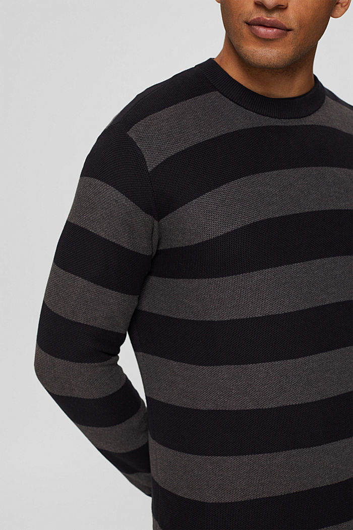 Struktur-Pullover, 100% Organic Cotton, BLACK, detail image number 2