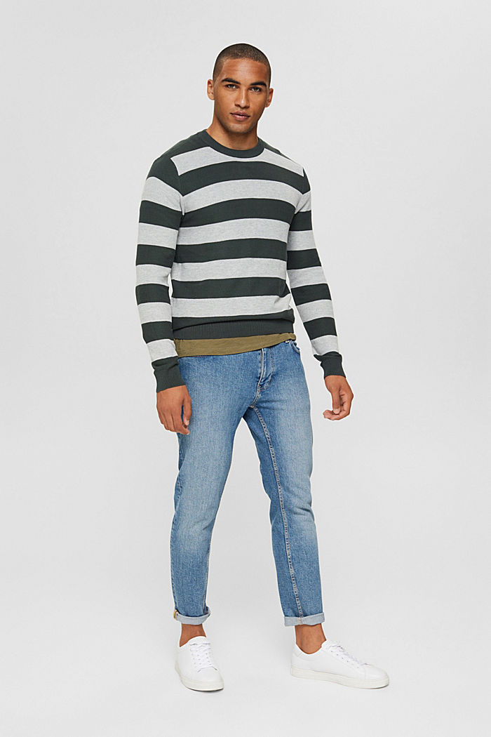 Textured jumper, 100% organic cotton, TEAL BLUE, detail image number 1