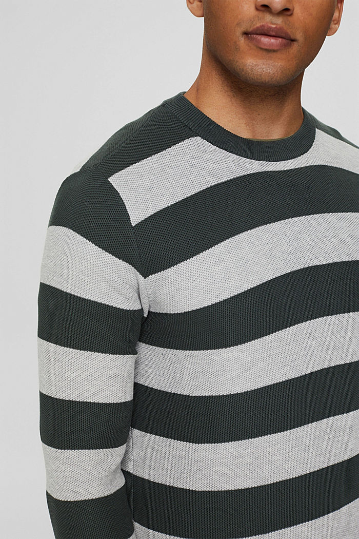 Textured jumper, 100% organic cotton, TEAL BLUE, detail image number 2