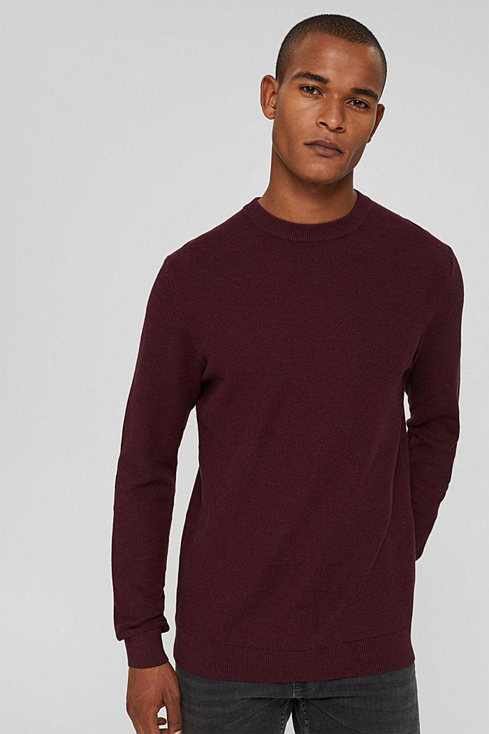 Struktur-Pullover, 100% Organic Cotton, BORDEAUX RED, detail image number 0