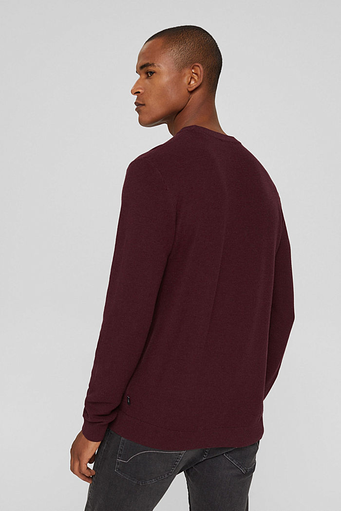 Struktur-Pullover, 100% Organic Cotton, BORDEAUX RED, detail image number 3