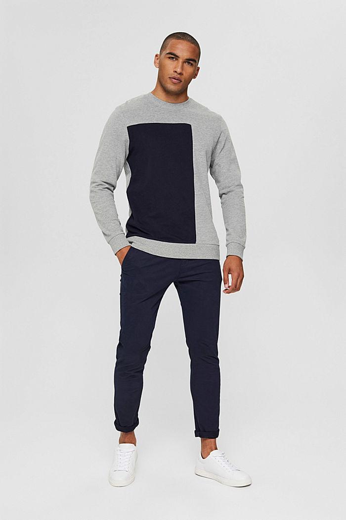 Color Block-Sweatshirt aus Baumwoll-Mix, MEDIUM GREY, detail image number 1