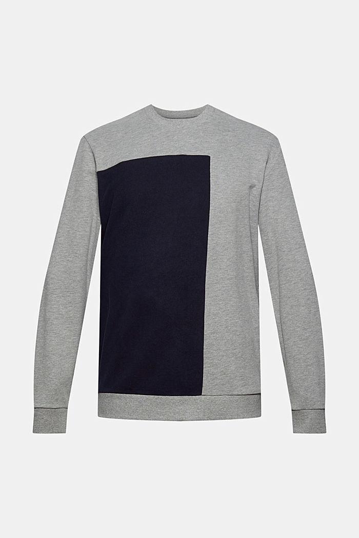 Sweat-shirt color block en coton mélangé