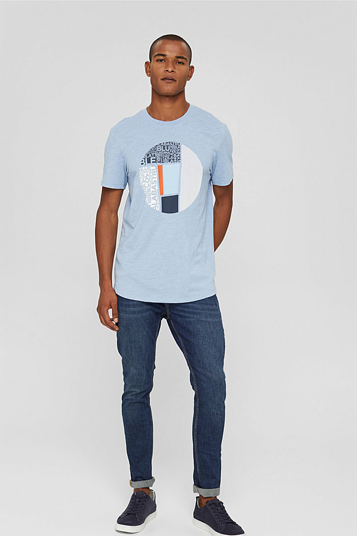 Gerecycled: jersey T-shirt met print, BLUE, detail image number 2