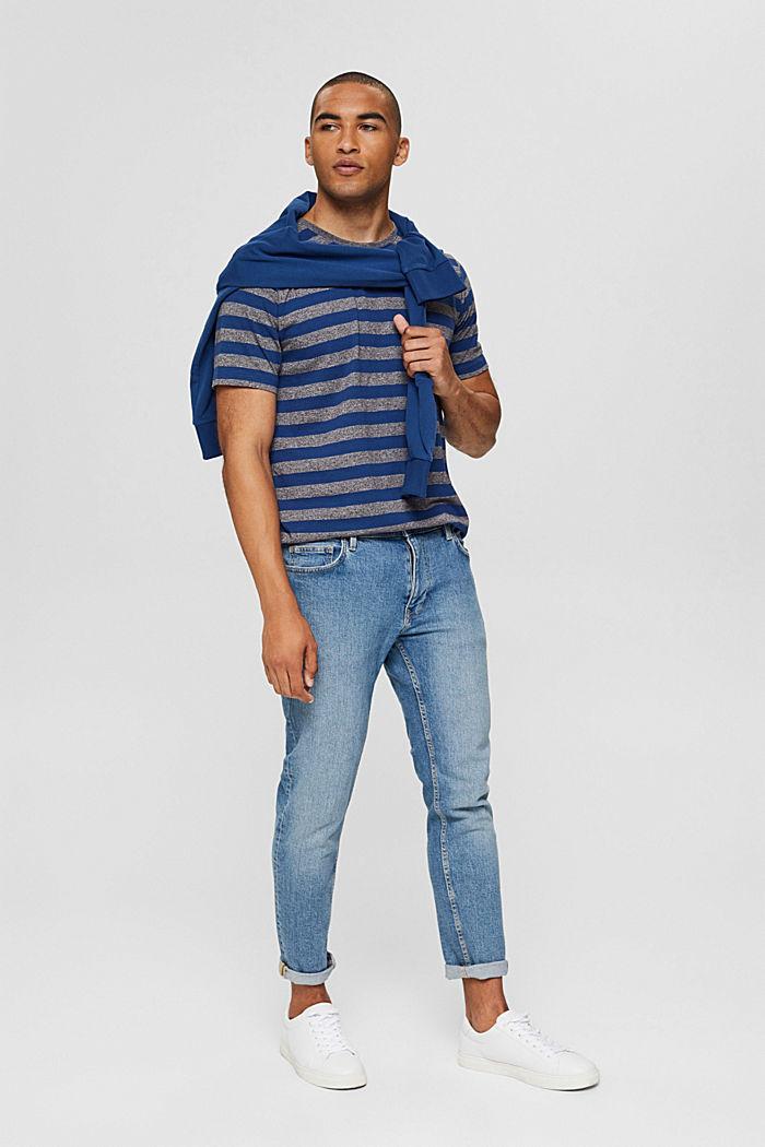 Jersey-T-Shirt im Streifen-Look, NAVY, detail image number 2