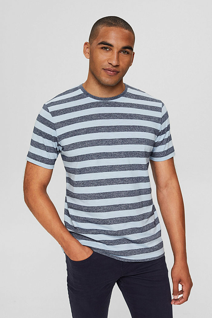 Jersey-T-Shirt im Streifen-Look, LIGHT BLUE, detail image number 0
