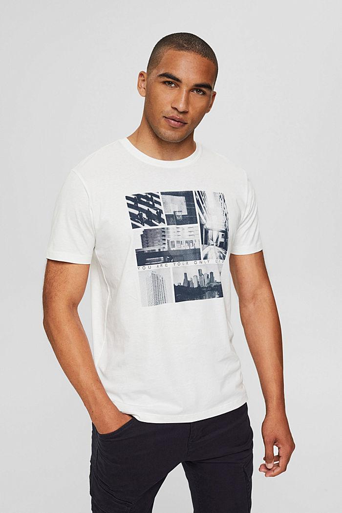 Jersey-T-Shirt mit Fotoprint, 100% Bio-Baumwolle, OFF WHITE, detail image number 0