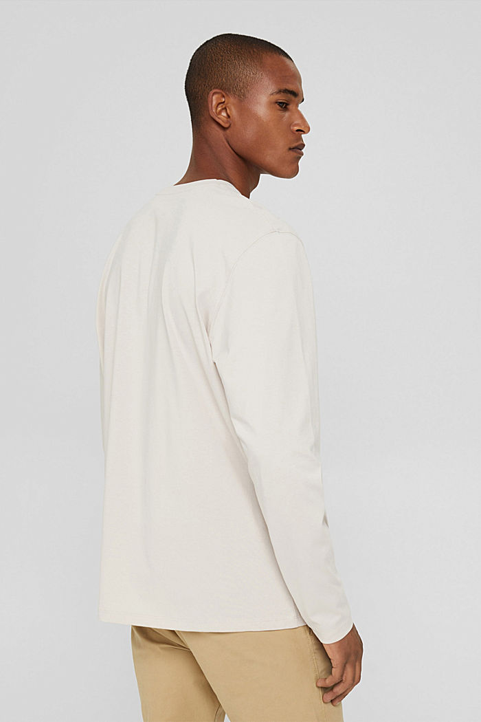 Jersey long sleeve top in organic cotton, CREAM BEIGE, detail image number 3