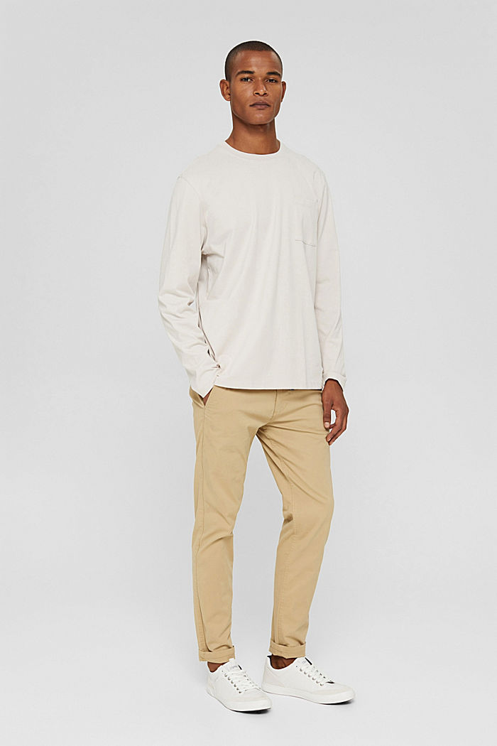 Jersey long sleeve top in organic cotton, CREAM BEIGE, detail image number 2