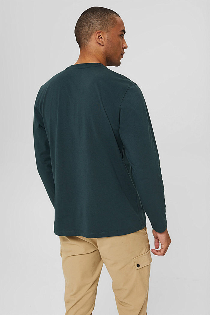 Jersey long sleeve top in organic cotton, TEAL BLUE, detail image number 3