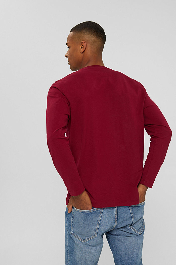 Jersey longsleeve van biologisch katoen, BERRY RED, detail image number 3