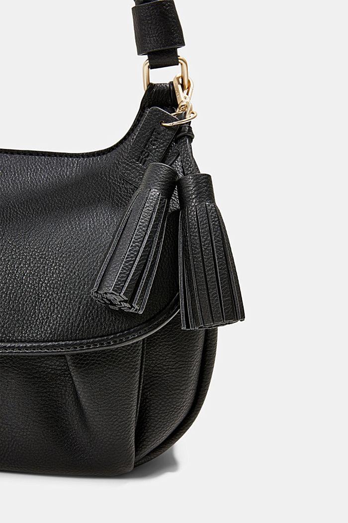 Veganistisch: schoudertas met klep, BLACK, detail image number 3