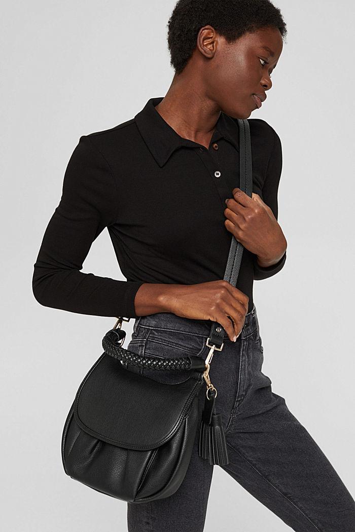 Veganistisch: schoudertas met klep, BLACK, detail image number 1