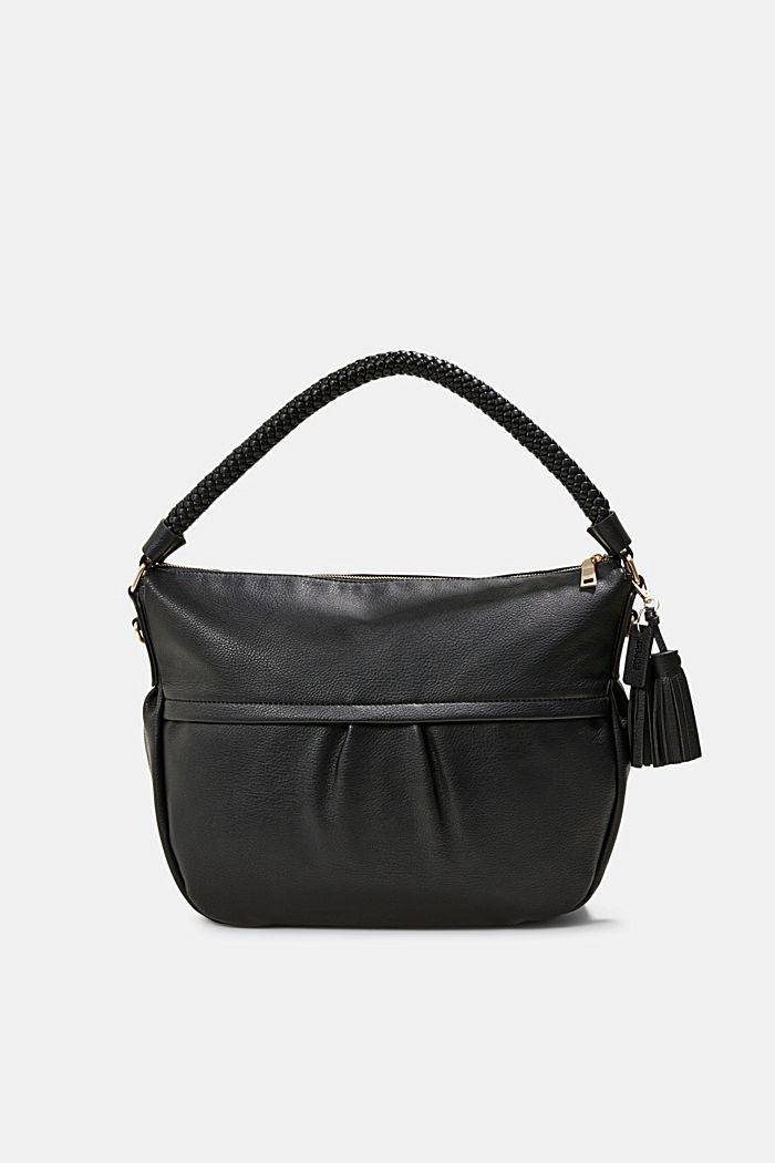 Hobo Bag mit geflochtenen Tragehenkeln, vegan, BLACK, detail image number 0