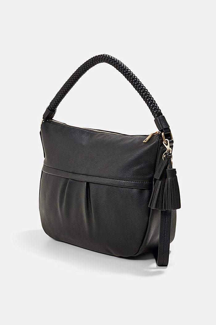 Hobo Bag mit geflochtenen Tragehenkeln, vegan, BLACK, detail image number 2