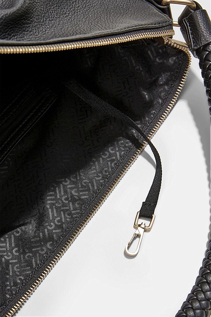 Hobo Bag mit geflochtenen Tragehenkeln, vegan, BLACK, detail image number 4