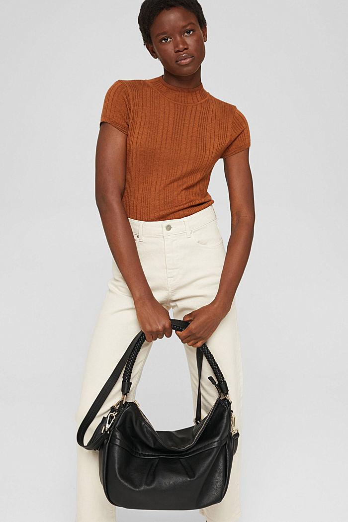 Hobo Bag mit geflochtenen Tragehenkeln, vegan, BLACK, detail image number 1
