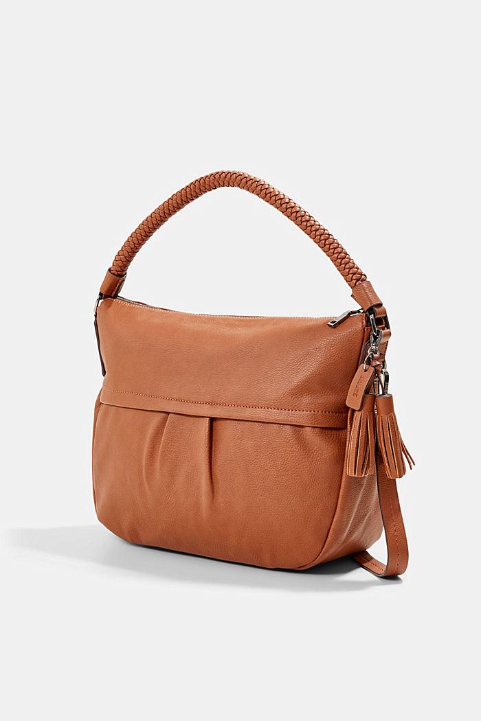 Hobo bag with woven handles, vegan, RUST BROWN, detail image number 4
