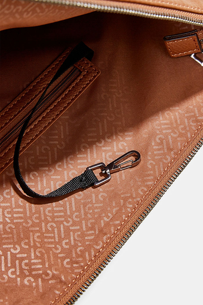 Hobo bag with woven handles, vegan, RUST BROWN, detail image number 3