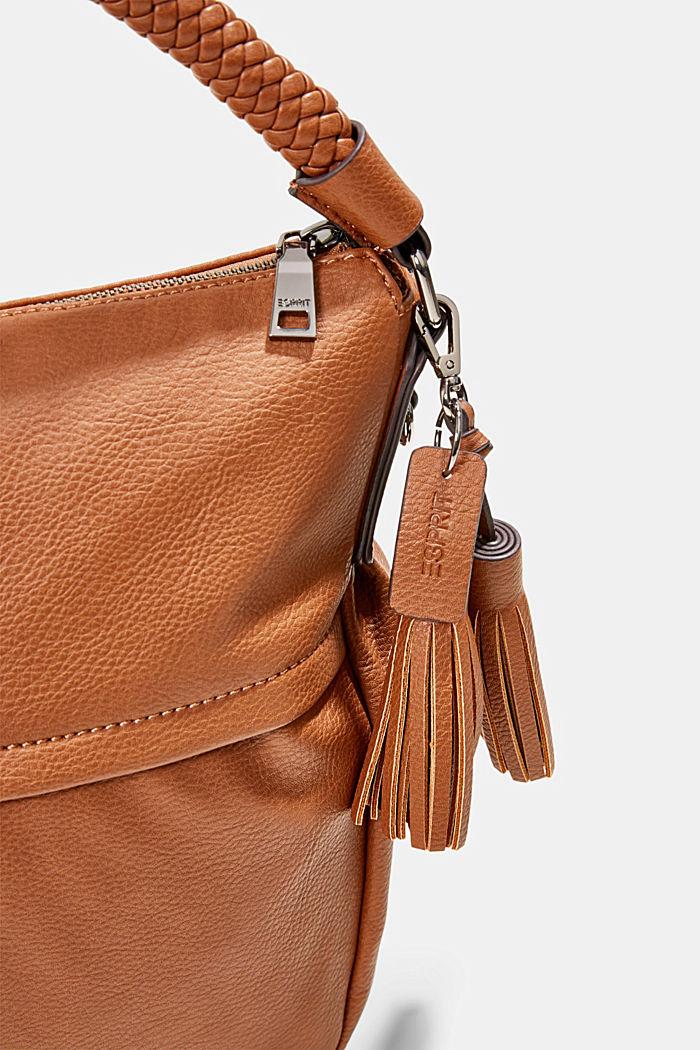 Hobo bag with woven handles, vegan, RUST BROWN, detail image number 2