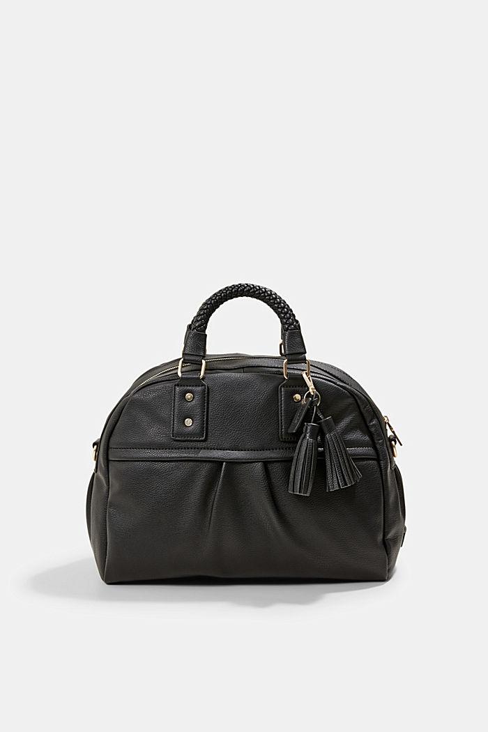Vegan: shoulder bag with a braided handle, BLACK, detail image number 0