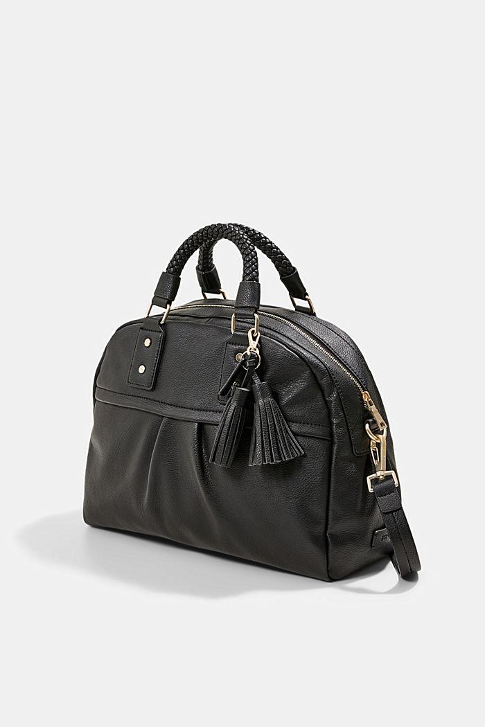 Vegan: shoulder bag with a braided handle, BLACK, detail image number 2