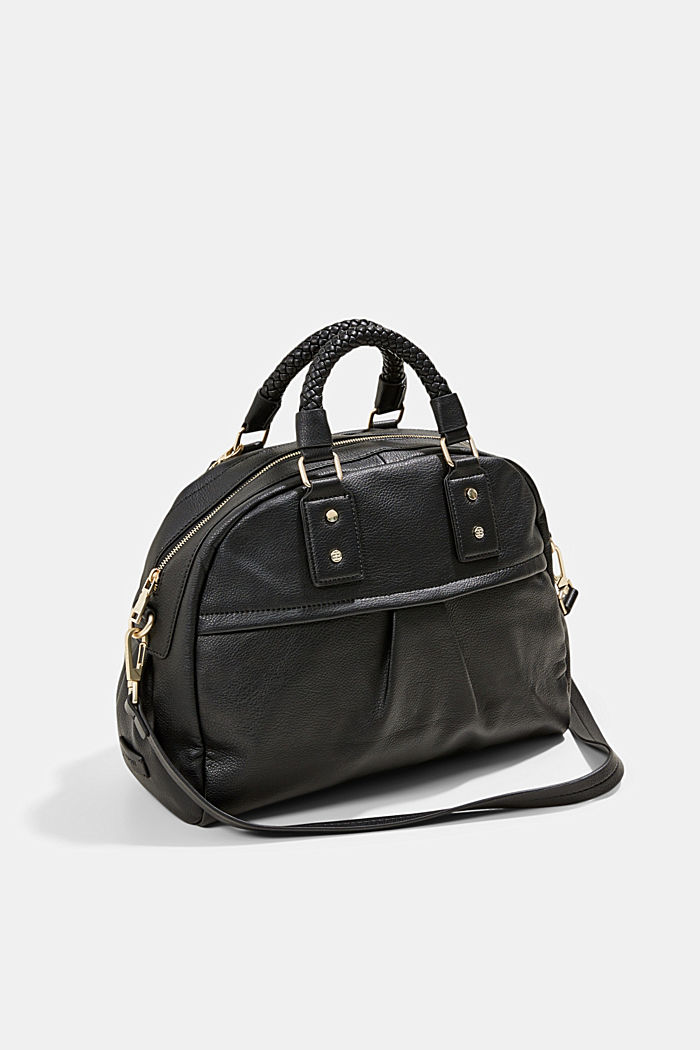 Vegan: shoulder bag with a braided handle, BLACK, detail image number 5