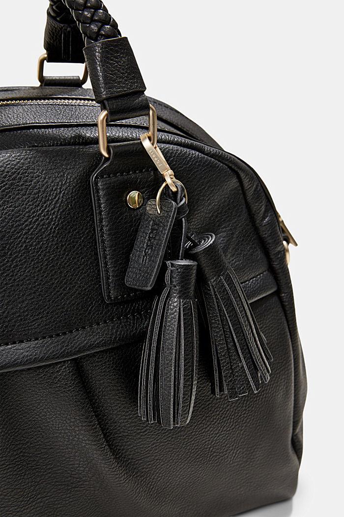 Vegan: shoulder bag with a braided handle, BLACK, detail image number 3