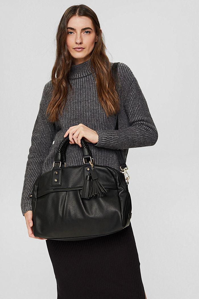 Vegan: shoulder bag with a braided handle, BLACK, detail image number 1