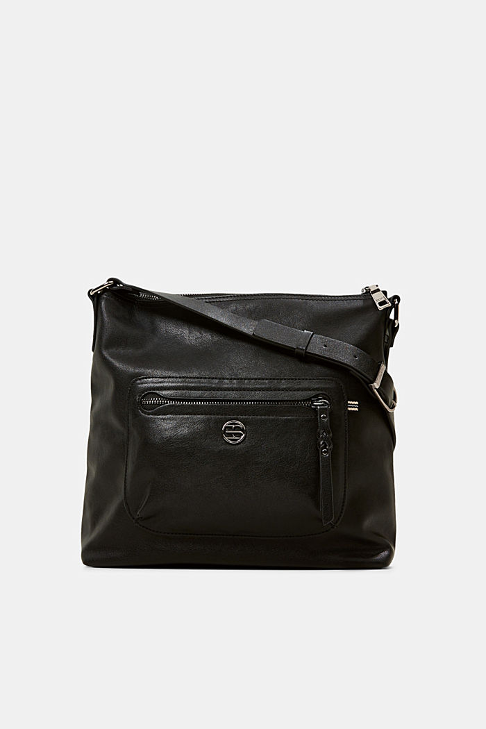 Vegan: Faux leather shoulder bag, BLACK, detail image number 0