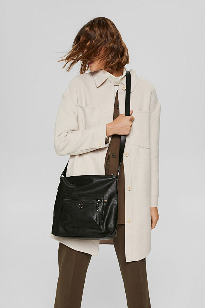 Vegan: Faux leather shoulder bag, BLACK, detail image number 1
