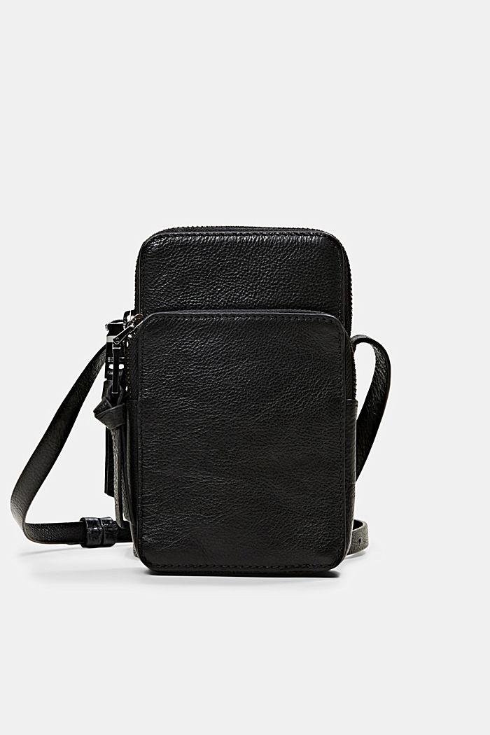 Leather smartphone bag, BLACK, detail image number 0