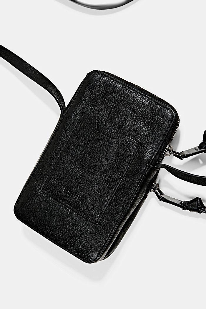 Leather smartphone bag, BLACK, detail image number 3