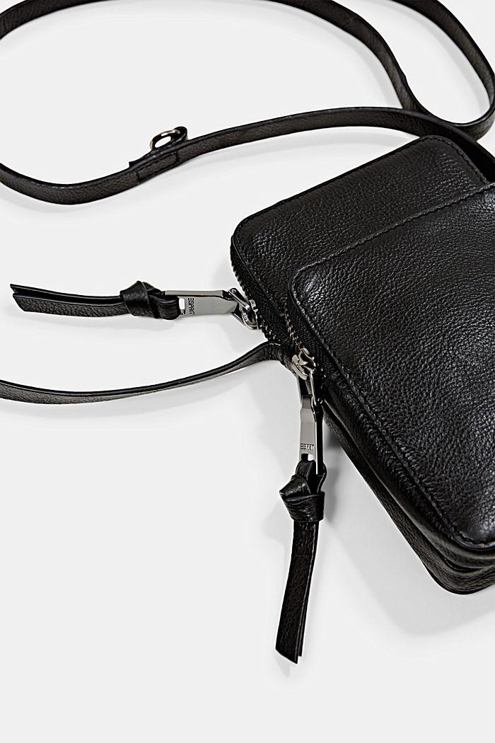 Leather smartphone bag, BLACK, detail image number 2
